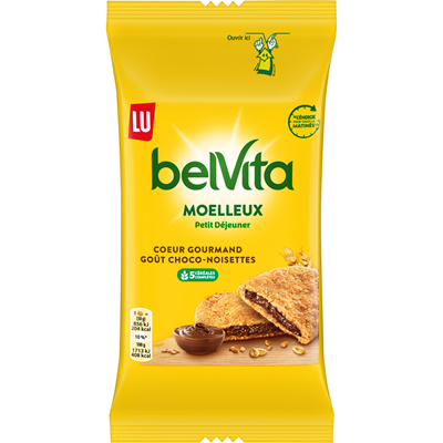 Biscuit moelleux coeur gourmand choco noisette paquet 50 g belvita