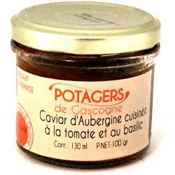 Caviar d'aubergines cuisinées à la tomate et au basilic 100g (bocal)