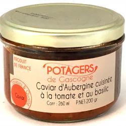 Caviar d'aubergines cuisinées à la tomate et au basilic 200g (bocal)