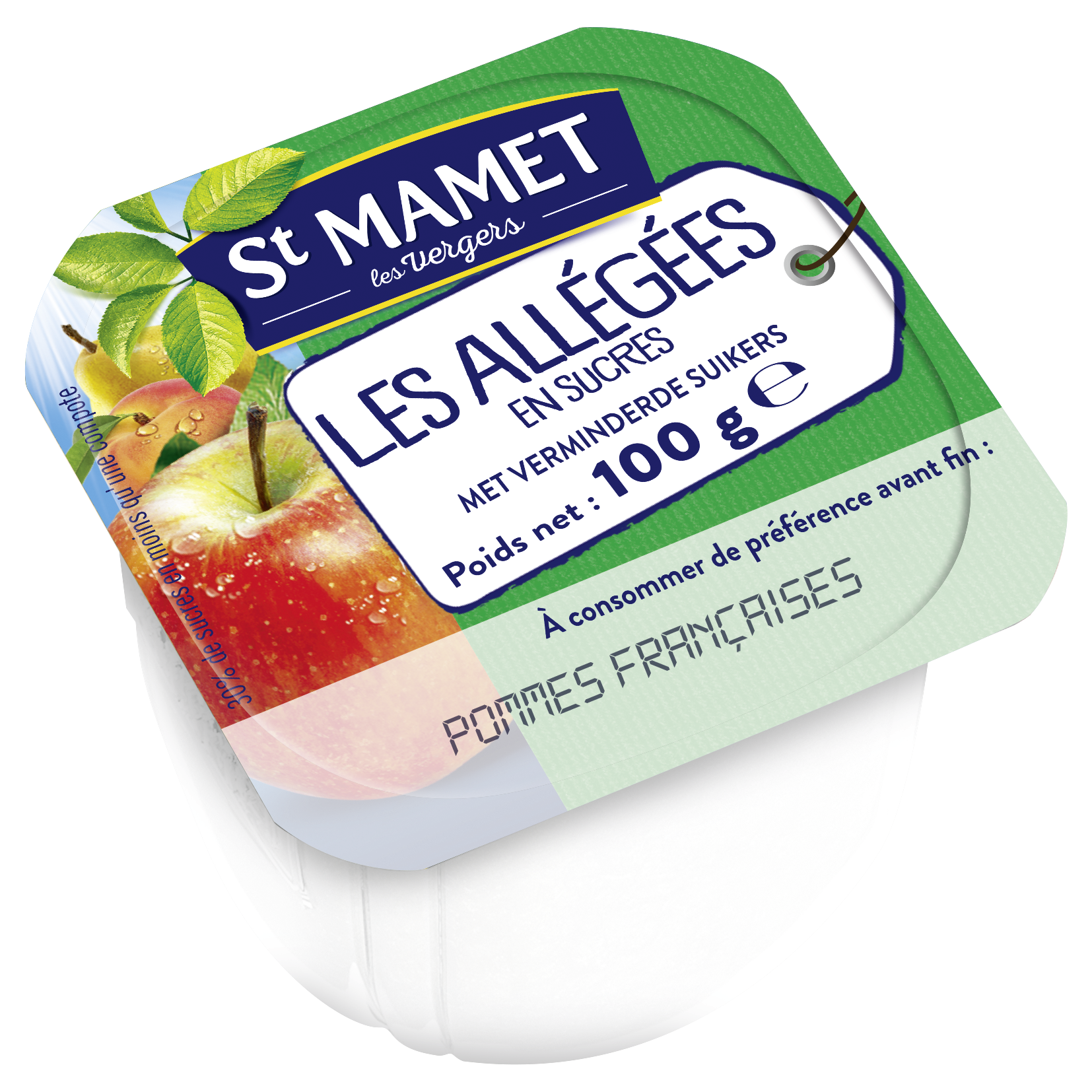 Compote de pommes 100 francaises allegee en sucre 120x100 ml st mamet