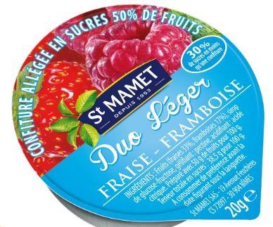 Confitures duo leger 20 g fraise framboise st manet vendu a l unite