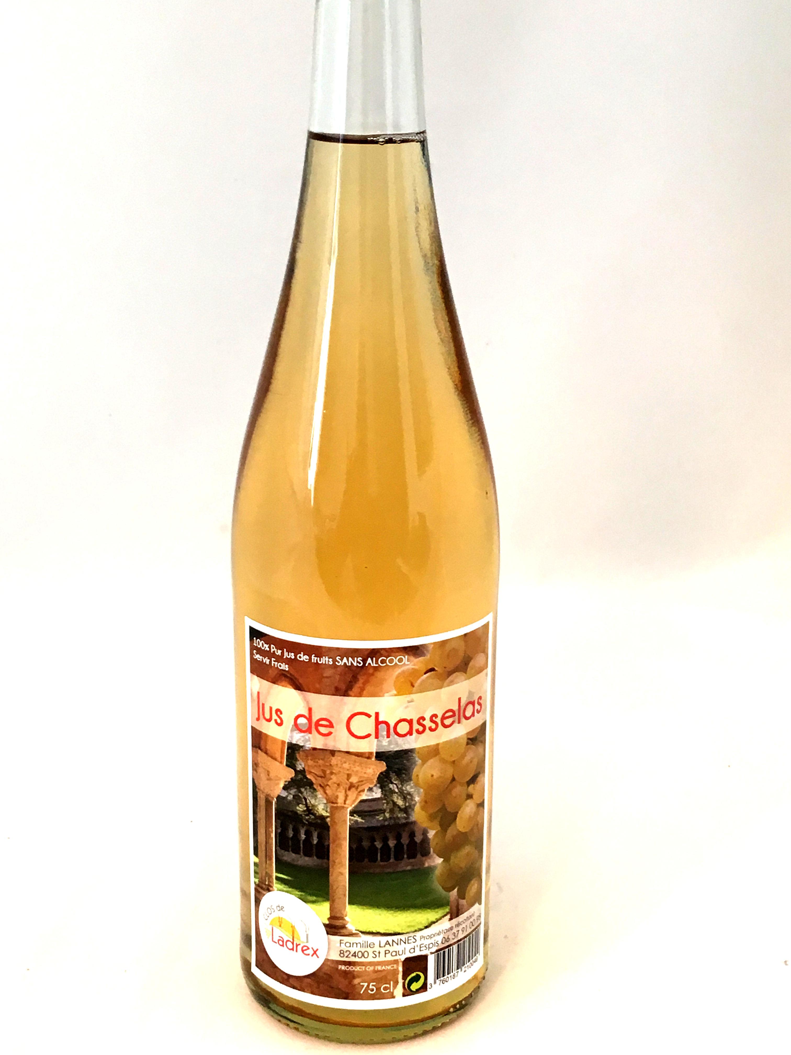 Jus de Chasselas pur jus de fruits 75cl (bouteille)