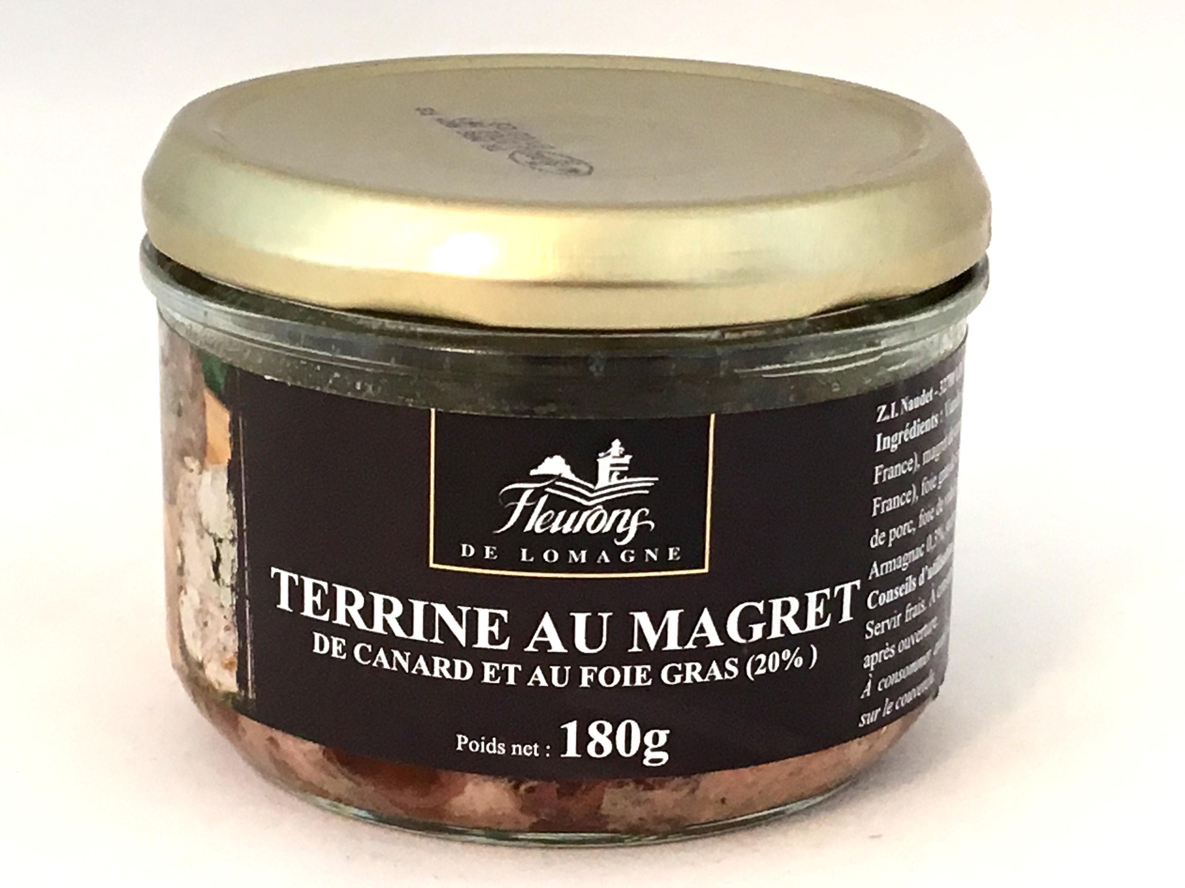Terrine au magret de canard et au foie gras (20% Foie Gras) 180g