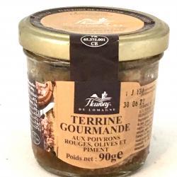 Terrine gourmande aux poivrons, olives et piment 90g (bocal)