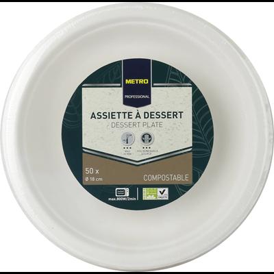 Assiette a dessert jetable rond biodegradable blanc 18 cm x 50