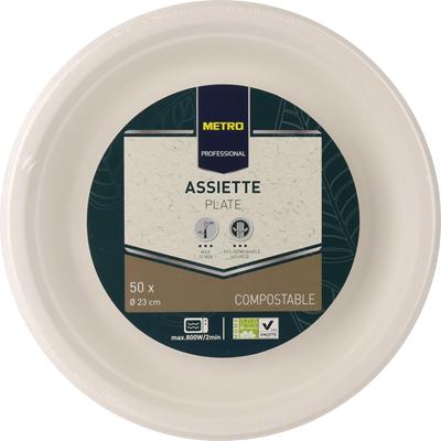 Assiette a dessert jetable rond biodegradable blanc 23 cm x 50