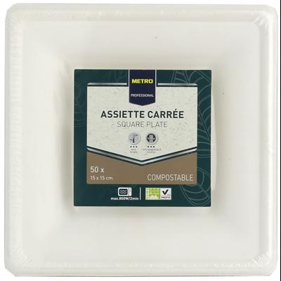 Assiette jetable carre biodegradable blanc 15 x 15 cm x 51