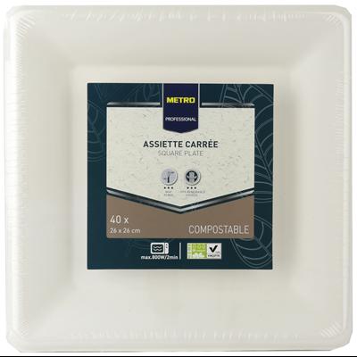 Assiette jetable carre biodegradable blanc 26 x 26 cm x 41