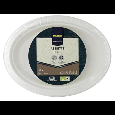 Assiette jetable ovale biodegradable blanc 26 x 19 5 cm x 50