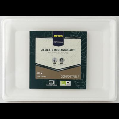 Assiette jetable rectangle biodegradable blanc 28 x 20 cm x 40