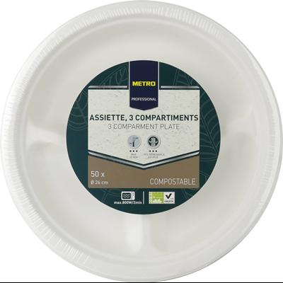 Assiette jetable rond 3 compartiments biodegradable blanc 26 cm x 51