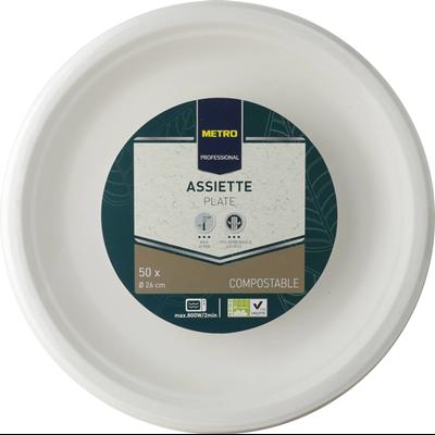 Assiette jetable rond biodegradable blanc 26 cm x 50