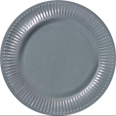 Assiette ronde carton recycle gris 23 cm x 100 le nappage