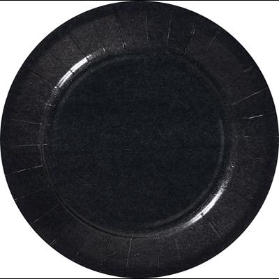 Assiette ronde carton recycle noir 18 cm x 100 le nappage