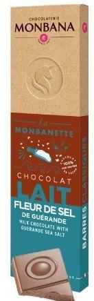 Barre chocolat au lait fleur de sel de guerande igp 40g monbana