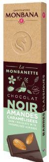 Barre chocolat noir amandes caramelisees 40g monbana
