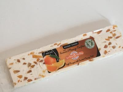 Barre de nougat tendre aux ecorces d oranges confites 100g les 3 abeilles montelimar
