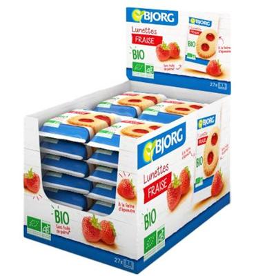 Biscuits bio fourres a la fraise lunettes fraise 27 x 50 g