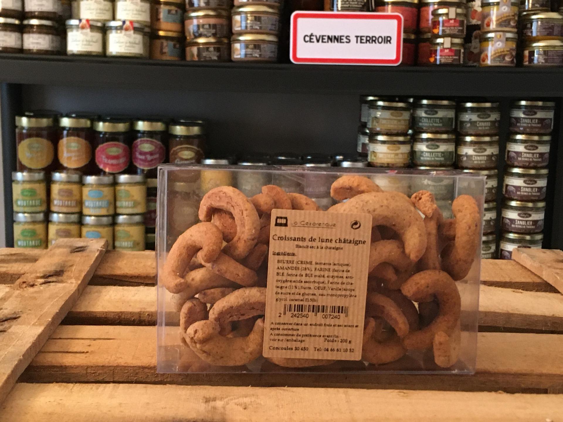 Biscuits croissant chataignes 200g esat la cezarenque en cevennes concoules