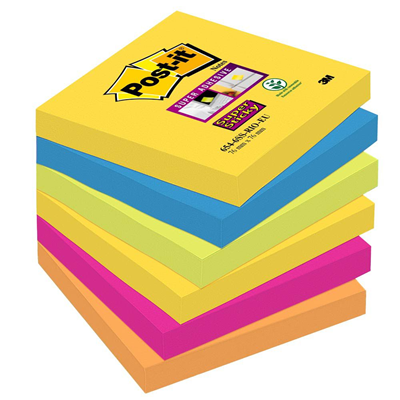 Bloc note post it coloris rio 76 x 76 mm 90 feuilles x 6