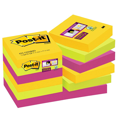 Bloc note post it reve intense coloris assortis 76 x 76 mm