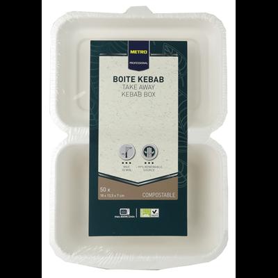 Boite a kebab biodegradable blanc 7 x 18 x 13 5 cm x 50