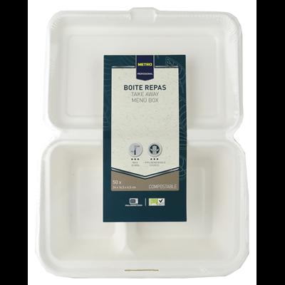 Boite menu 2 compartiments biodegradable blanc 24 x 16 5 x 6 5 cm x 50