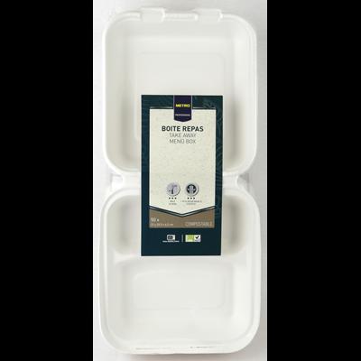 Boite menu 3 compartiments biodegradable blanc 22 x 20 5 x 6 5 cm x 50