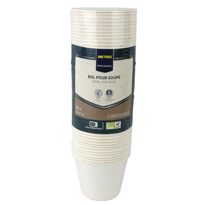 Bol a soupe jetable rond biodegradable blanc 450 ml x 50