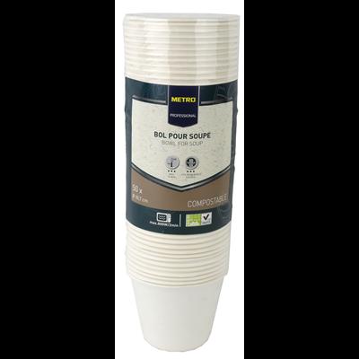 Bol a soupe jetable rond biodegradable blanc 450 ml x 50