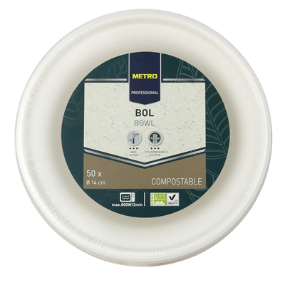 Bol jetable rond biodegradable blanc 400 ml x 50