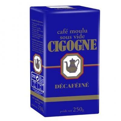 Cafe decafeine moulu sous vide 12 x 250 g cigogne cafe pour bureau