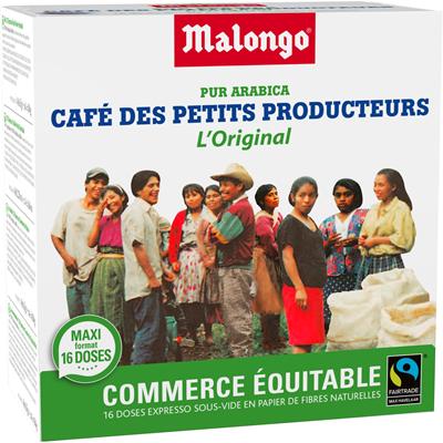 Cafe des petits producteurs 16 doses expresso malongo