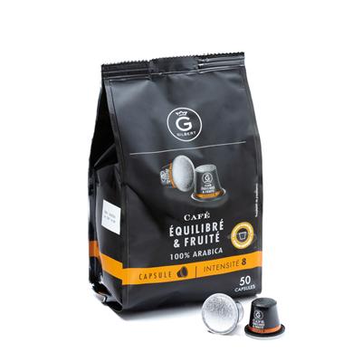 Cafe equilibre fruite 50 capsules intensite 8 gilbert