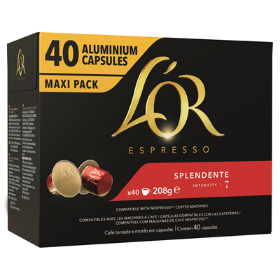 Cafe espresso splendente intensite 7 l or 40 capsules boite 208 g