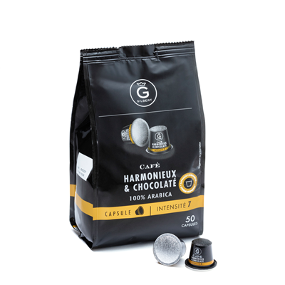 Cafe harmonieux chocolate 50 capsules intenite 7 giblert