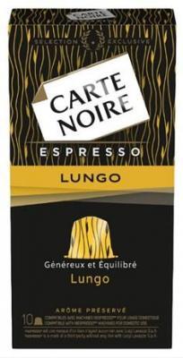 Capsule cafe carte noire espresso lungo x 10 56 g pour professionnels