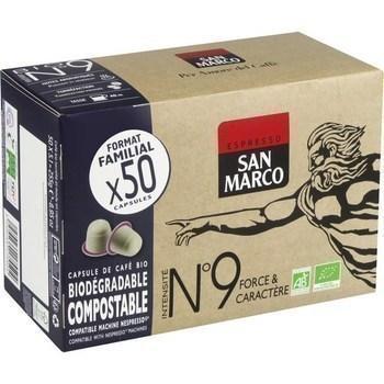 Capsule de cafe bio n 9 force caractere x50 compatibles nespresso