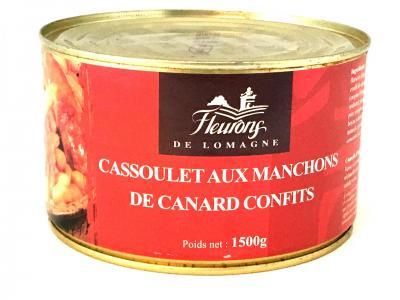Cassoulet aux manchons de canard confits 1500g boite fer