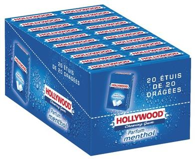Chewing gum menthol 20 etuis x 40 dragees hollywood