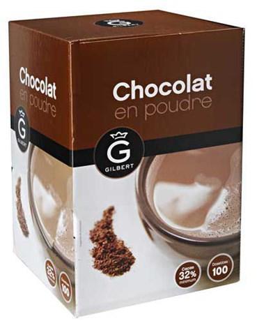 Chocolat en dosettes 100 x 20 g gilbert pour bureau