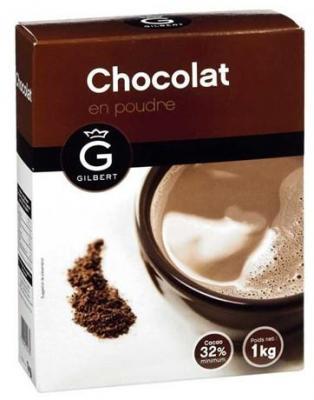 Chocolat en poudre 32 1 kg gilbert dosettes et sticks individuels