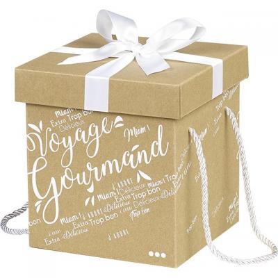 Coffret carton kraft carre voyage gourmand blanc noeud satin cordelettes coloris blanc 18x18x19 5 cm