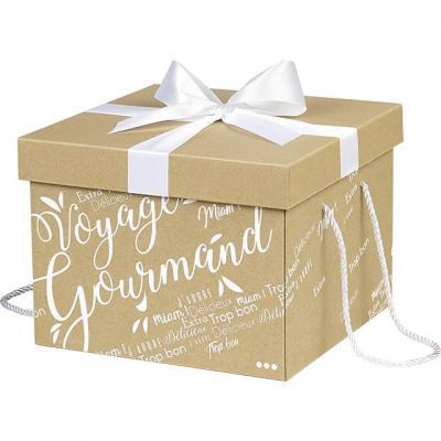 Coffret carton kraft carre voyage gourmand blanc noeud satin cordelettes coloris blanc 27x27x20 cm