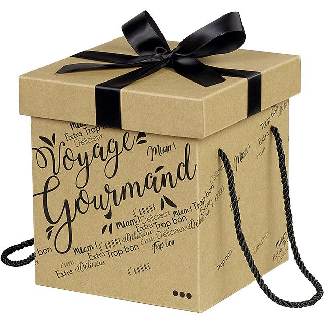 Coffret carton kraft carre voyage gourmand noir noeud satin cordelettes coloris noir 18x18x19 5 cm