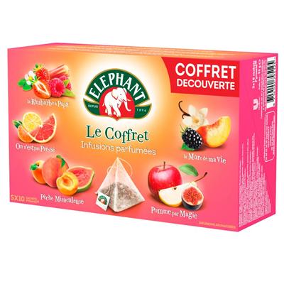 Coffret infusions parfumees 50 sachets pyramide elephant