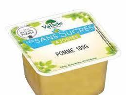 Compote de pomme sans sucres ajoutes en coupelle de 95 g valade vendu a l unite