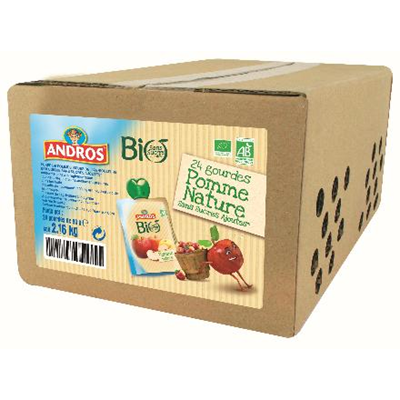 Compote de pommes bio gourde 24 x 90 g andros