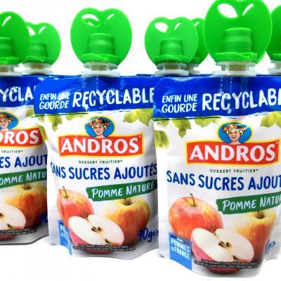 Compote de pommes nature sans sucres ajoutes gourde 90 g andros le lot de 10