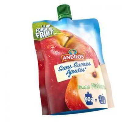 Compote de pommes sans sucre gourde 90 g andros vendu a l unite